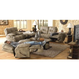 Voyager Brandy Reclining Living Room Set with 3 Recliners Sofa
