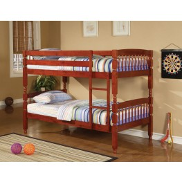 Coral Cherry Twin Over Twin Bunk Bed 460221