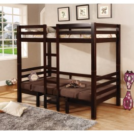 Bunks Cappuccino Convertible Table W/ Seating Twin/Twin Bunkbed 460263
