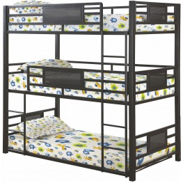 Rogen Gunmetal Twin Triple Bunk Bed