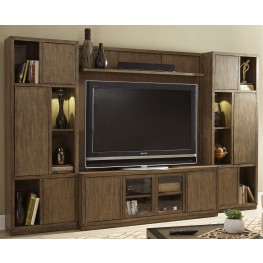 Bennett Pointe Smokey Tan Entertainment Wall Unit