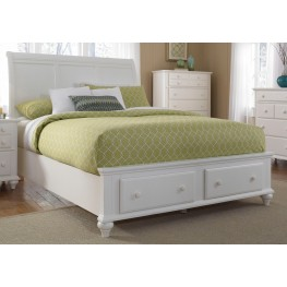 Hayden Place White Queen Storage Sleigh Bed