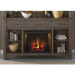 Stone Brook Rustic Saddle Buffet with Fireplace