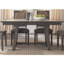 Stone Brook Rustic Saddle Trestle Dining Table