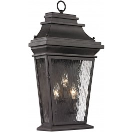 47053-3 Forged Provincial Charcoal 3 Light Outdoor Sconce