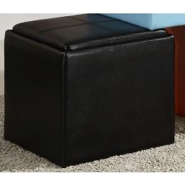 Ladd Storage Cube Ottoman, Black Bi-Cast Vinyl