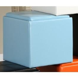 Ladd Storage Cube Ottoman, Blue Bi-Cast Vinyl