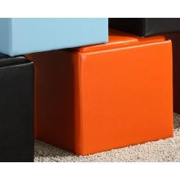 Ladd Storage Cube Ottoman, Orange Bi-Cast Vinyl