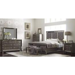 Lenox Platinum Painted Upholstered Panel Bedroom Set