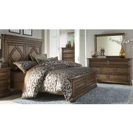 Amelia Antique Toffee Panel Bedroom Set