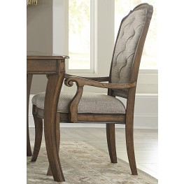 Amelia Antique Toffee Upholstered Arm Chair Set of 2