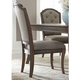Amelia Antique Toffee Upholstered Side Chair Set of 2