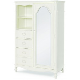 Harmony Antique Linen White 4 Drawer Mirrored Door Chest