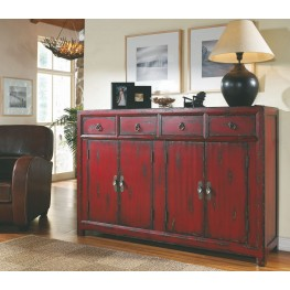 Red 58'' 4 Door Asian Cabinet