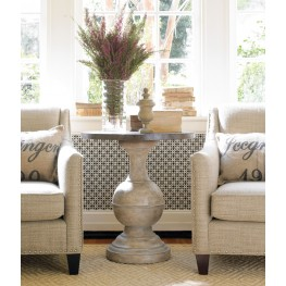 Cream And Beige Round Accent Table