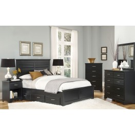Platinum Black Panel Storage Bedroom Set
