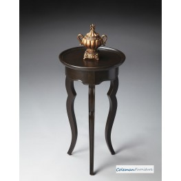 Rubbed Black Round Accent Table