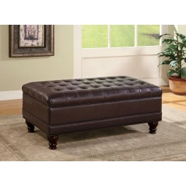 Dark Brown Button Tufted Storage Ottoman 501041