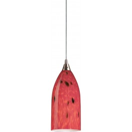 Verona Satin Nickel And Fire Red Glass 1 Light LED Pendant