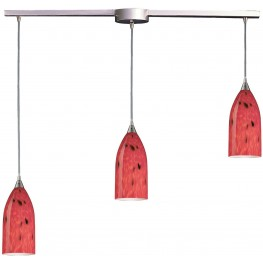 502-3L-FR Verona Satin Nickel And Fire Red Glass 3 Light Pendant