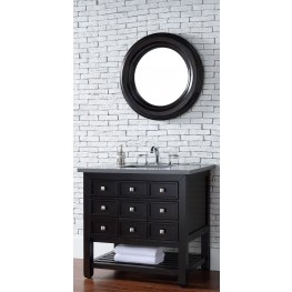 "Vancouver 36"" Cerused Espresso Oak Single 3CM Top Vanity Set"