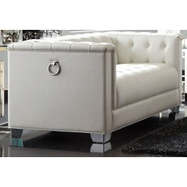 Chaviano Pearl White Tufted Loveseat