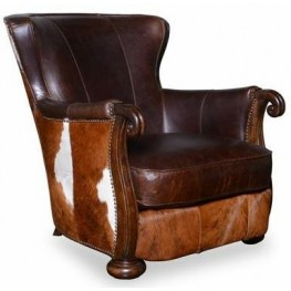 Kennedy Walnut Hide Lounge Chair with Wood Arms