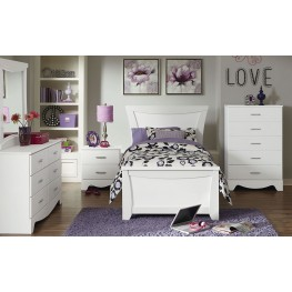 Vogue Glossy White Youth Panel Bedroom Set