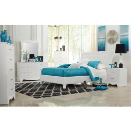 Vogue Glossy White Upholstered Bedroom Set
