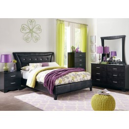 Vogue Glossy Black Youth Upholstered Bedroom Set