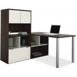 Contempo Tuxedo & Sandstone L-Shaped Desk with Hutch
