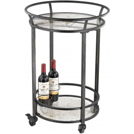 Accent Table Black With Gold Print On Glassworld Map Bar Cart