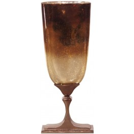 Bronze Glass and Aluminum Tall Vase