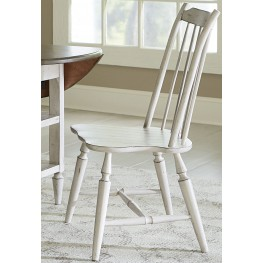 Oak Hill Tan Smoke & Antique White Windsor Back Side Chair Set of 2