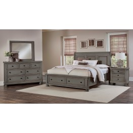 Reflections Antique Pewter Sleigh Storage Bedroom Set