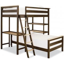 MyRoom Parchment and Gray Twin Metal Loft Bunk Bed