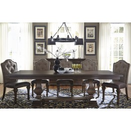 Lucca Dining Brown Double Pedestal Dining Room Set