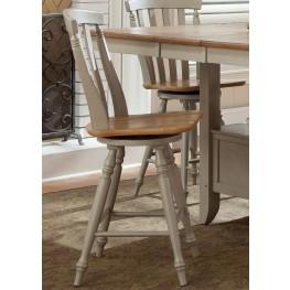 Al Fresco Driftwood and Taupe Slat Back Swivel Counter Chair