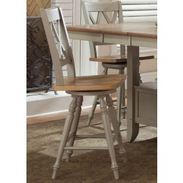 Al Fresco Driftwood and Taupe Double X Back Swivel Counter Chair