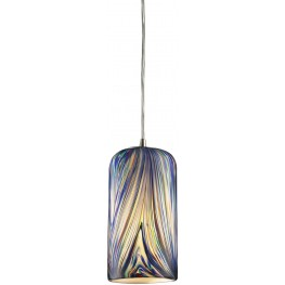 544-1MO Molten Satin Nickel And Molten Ocean Glass 1 Light Pendant