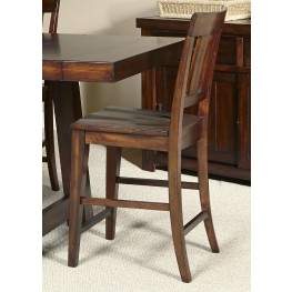 Tahoe Mahogany Stain Slat Back Counter Chair