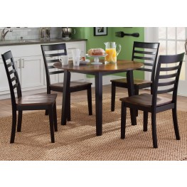Cafe Black and Cherry Round Fix Top Dining Room Set