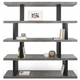 Step High Concrete and Pure Black Shelving Unit