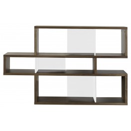 London Walnut Frame With Pure White Backs 6 Shelf Bookcase