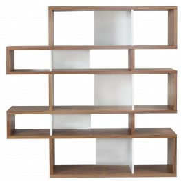 London Walnut Frame with Pure White Backs 10 Shelf Bookcase