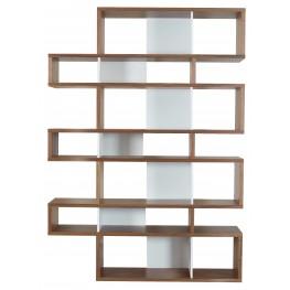 London Walnut Frame with Pure White Backs 14 Shelf Bookcase