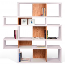 London Pure White Frame with Cork Backs 10 Shelf Bookcase