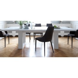 """Tundra High Gloss White 79"""" Extendable Dining Table"""