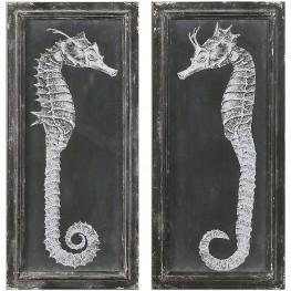 Seahorse Blueprints Art Set of 2