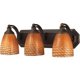 Bath And Spa Aged Bronze And Cocoa Glass 3 Light Vanity